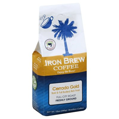 Iron Brew Coffee Coffee, Brazilian, Freshly Ground, Full City Roast, Cerrado Gold