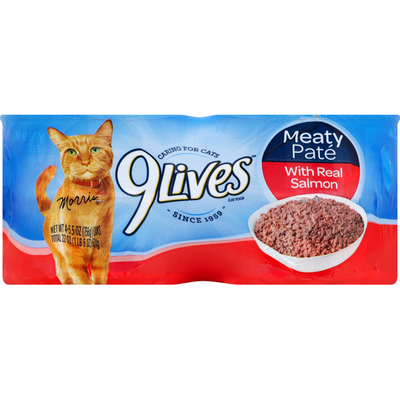 9Lives Cat Food, with Real Salmon, Meaty Pate
