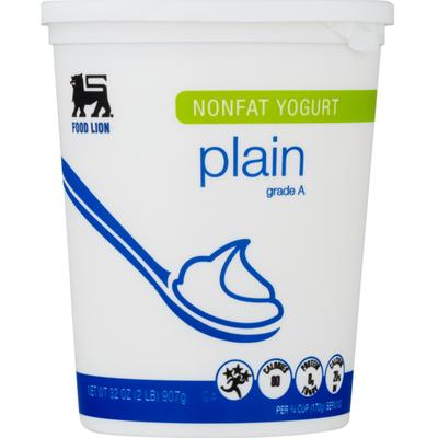 Food Lion Yogurt, Nonfat, Plain, Cub/Tub