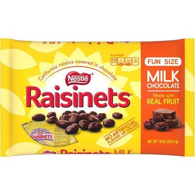 Raisinets Sun-ripened, plump juicy California raisins tucked in rich, creamy milk chocolate. Milk chocolate covered raisins