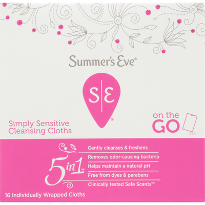Summer's Eve Cleansing Cloths, Simply Sensitive, 5 in 1