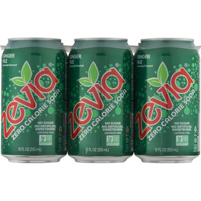 Zevia Zero Calorie Soda Ginger Ale - 6 PK