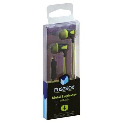 Fusebox Earphones, Metal, with Mic, Black/Green