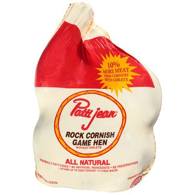 Patti Jean Raw whole Plant Grade Cornish Game Hens without giblets, vacuum packed and froze