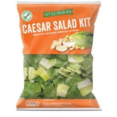 Little Salad Bar Romaine Lettuce, Caesar Dressing, Shredded Cheese And Croutons Caesar Salad, Dressing & Toppings Kit