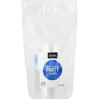 Essential Everyday Party Cups, Clear Plastic, 9 Ounce
