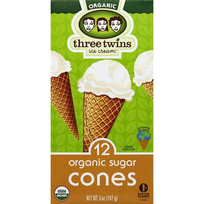 Three Twins Sugar Cones, Organic