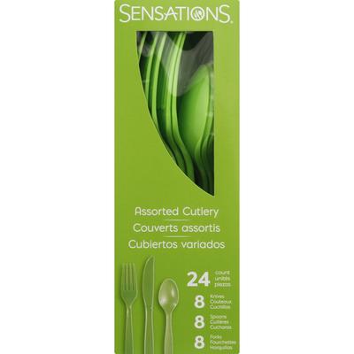 Sensations Cutlery, Plastic, Fresh Green, Assorted