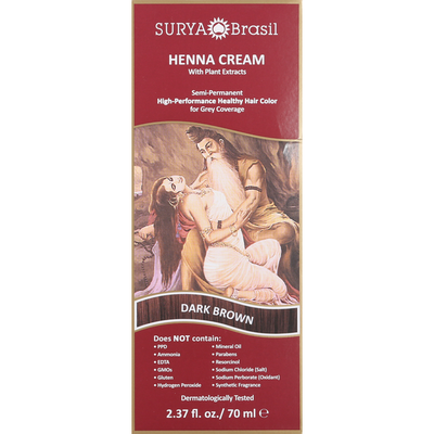 Surya Brasil Henna Cream with Plant Extracts, Dark Brown