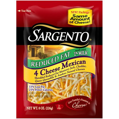 Sargento Reduced Fat 4 Cheese Mexican Shredded Cheese