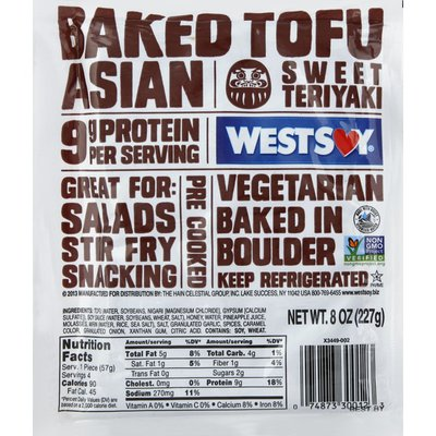 WestSoy Tofu, Baked, Asian, Sweet Teriyaki