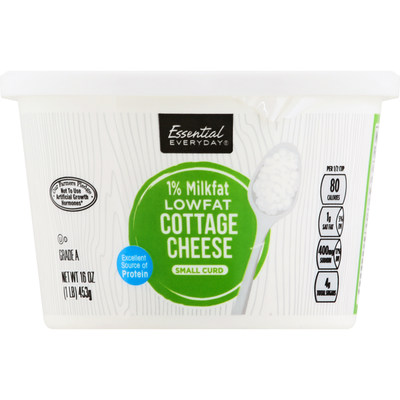 Essential Everyday Cottage Cheese, Small Curd, 1% Milkfat, Low Fat