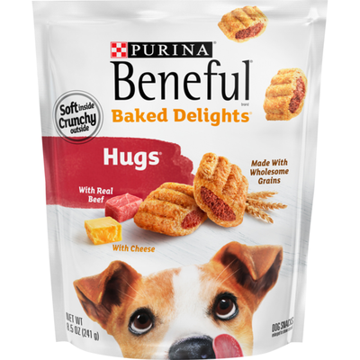 Purina Beneful Made in USA Facilities Dog Treats, Baked Delights Hugs With Real Beef & Cheese