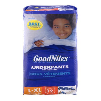 GoodNites Underpants for Nighttime Boys Jumbo Pack Size L-XL - 60-125 lbs