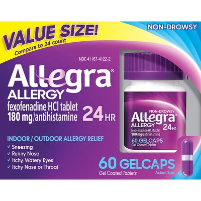 Allegra Allergy Relief, 24 Hour, 180 mg, Gelcaps, Value Size