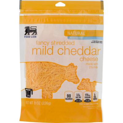 Food Lion Cheese, Natural, Mild Cheddar, Fancy Shredded, Pouch