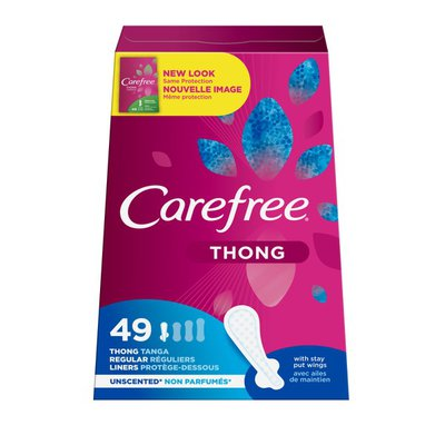 CAREFREE Liners, Thong, with Stay Put Wings, Regular, Unscented