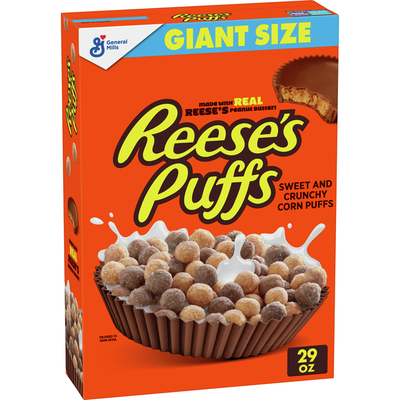 Reese's Puffs Whole Grain Peanut Butter Chocolate Breakfast Cereal