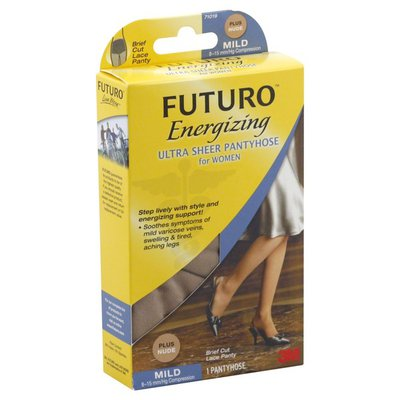 Futuro Pantyhose, Ultra Sheer, for Women, Mild Compression, Brief Cut Lace Panty, Plus, Nude