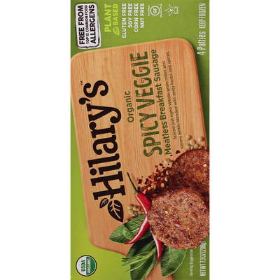 Hilary's Meatless Breakfast Sausage, Organic, Spicy Veggie