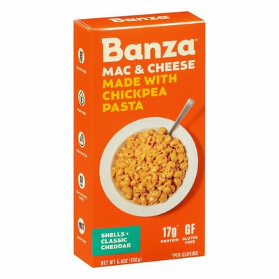 Banza Mac & Cheese, Shells + Classic Cheddar, Made with Chickpea Pasta