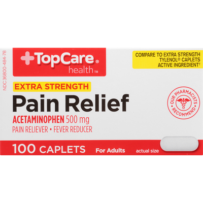 TopCare Pain Relief, Extra Strength, 500 mg, Caplets
