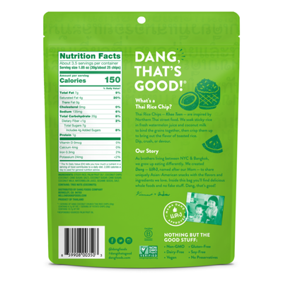 Dang Thai Rice Chips Gluten Free, Coconut Crunch