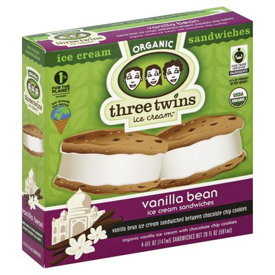 Three Twins Ice Cream Sandwiches, Organic, Vanilla Bean