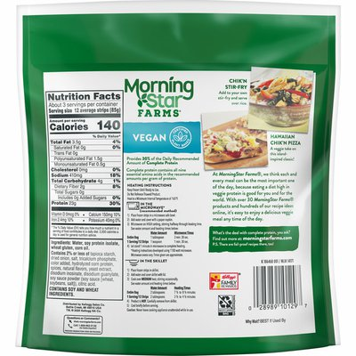 Morning Star Farms Meatless Chicken Strips, Plant Based Protein Vegan Meat, Frozen Meal, Original