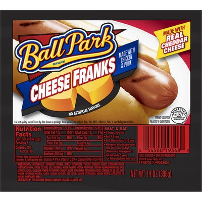 Ball Park Cheese Franks Made With Chicken and Pork