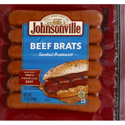 Johnsonville Sausage Smoked Beef Brats, 6 Count