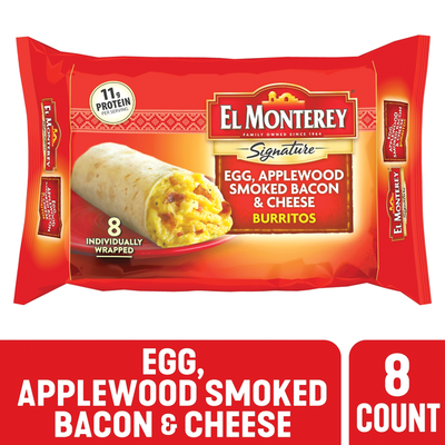 El Monterey Signature Egg, Applewood Smoked Bacon & Cheese Burritos