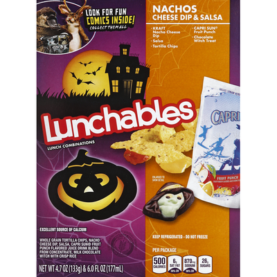 Lunchables Nachos Cheese Dip & Salsa Meal Kit with Capri Sun Fruit Punch Drink & Kit Kat Candy Bar