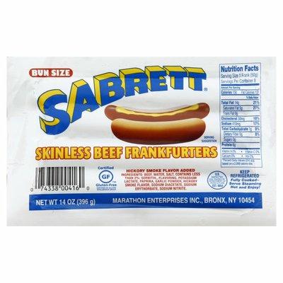 Sabrett Skinless Beef Frankfurters Bun Size
