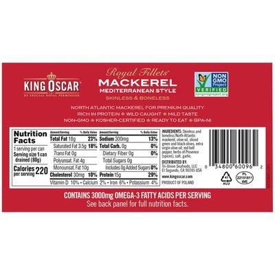 King Oscar Skinless/Boneless Mediterranean Style Mackerel