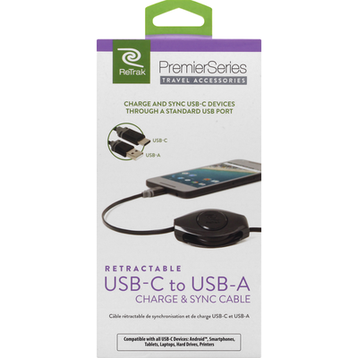 ReTrak Charge & Sync Cable, USB-C to USB-A, Retractable