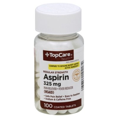 TopCare Regular Strength Aspirin 325 Mg Pain Reliever Fever Reducer (Nsaid) Coated Tablets