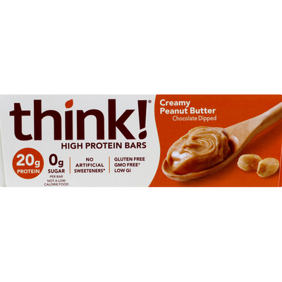 Think Thin High Protein Bars, Creamy Peanut Butter, Chocolate Dipped