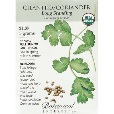 Botanical Interests Seeds, Organic, Cilantro/Coriander, Long Standing