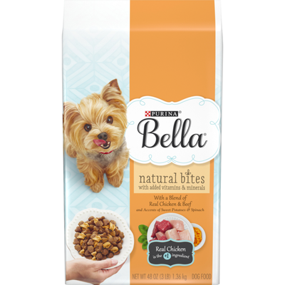 Purina Bella Natural Small Breed Dry Dog Food, Natural Bites With Real Chicken & Beef