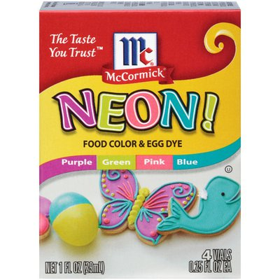 McCormick® Neon Assorted Food Color & Egg Dye, 4 count