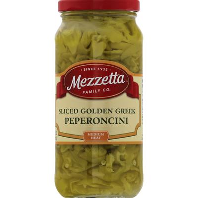 Mezzetta Peperoncini, Golden Greek, Medium Heat, Sliced