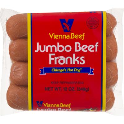 Vienna Beef Jumbo Beef Franks - 4 CT