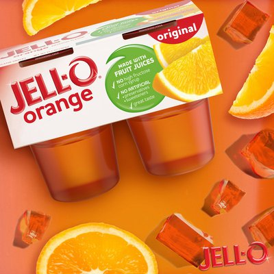 Jell-O Original Orange Ready-to-Eat Jello Cups Gelatin Snack