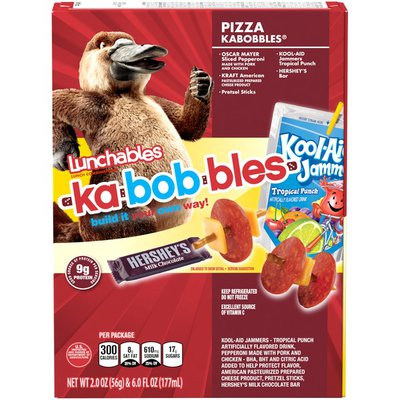 Lunchables Pepperoni Kabobbles Meal Kit with American Cheese, Pretzel Sticks, Kool-Aid Jammers Tropical Punch Drink & Hershey's Bar