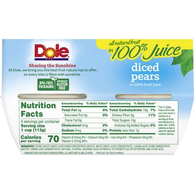 Dole Pears in 100% Fruit Juice, Diced
