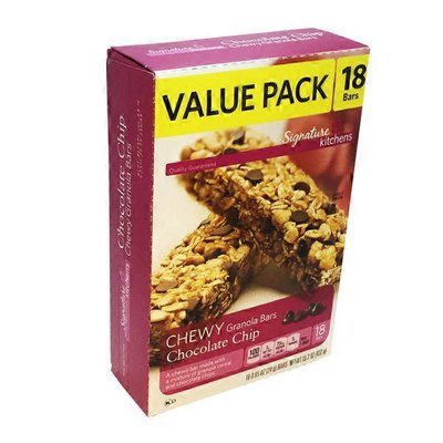 Signature Kitchens Granola Bars, Chocolate Chip, Chewy, Family Pack