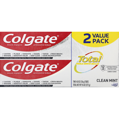 Colgate Toothpaste, Clean Mint, Value 2 Pack