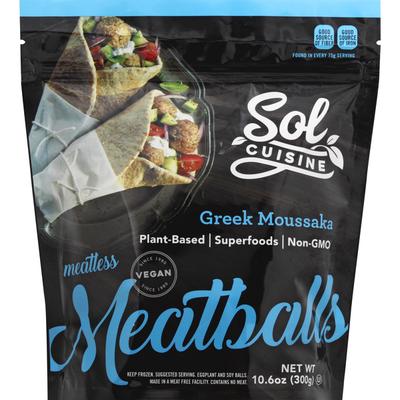 Sol Cuisine Meatballs, Greek Moussaka, Meatless