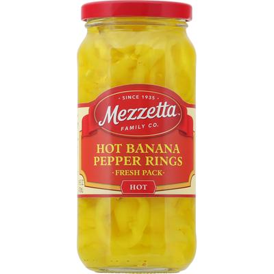 Mezzetta Banana Pepper Rings, Hot, Fresh Pack